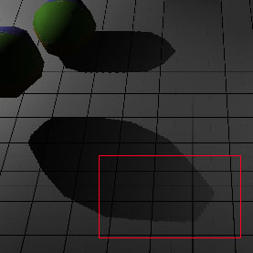 Some aliasing can be seen where the shadows are stretched even though a 512x512 texture is used
